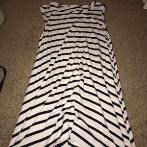 a blue and white striped dress
